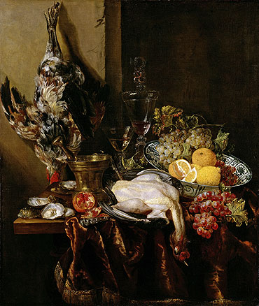 Still Life with Fowl and Fruits, c.1680   Abraham Beyeren   Painting Reproduction