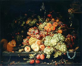 Abraham Mignon | Still Life with Fruit, Squirrel and Goldfinch, undated | Giclée Canvas Print