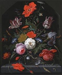 Abraham Mignon | Flowers in a Glass Vase on a Ledge, c.1665/70 | Giclée Canvas Print