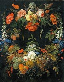 Abraham Mignon | A Floral Wreath and Fruits, undated | Giclée Canvas Print