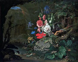 Abraham Mignon | Flowers and Animals in a Casemate, undated | Giclée Canvas Print