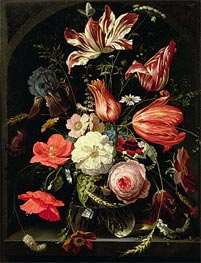 Still Life of Flowers on a Ledge, undated by Abraham Mignon | Giclée Canvas Print