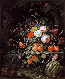 Abraham Mignon | Still Life with Flowers and Fruit, c.1660/80 | Giclée Canvas Print