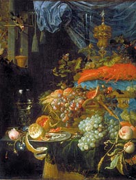 Still Life with Fruit and a Goldfinch, 1679 by Abraham Mignon | Giclée Canvas Print