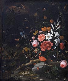 Still Life with Flowers and Animals, 1670 by Abraham Mignon | Giclée Canvas Print