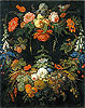Mignon - A Floral Wreath and Fruits - Art Print / Posters