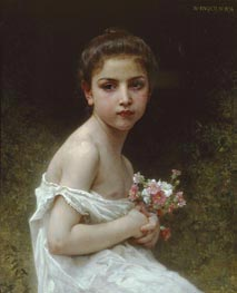Bouguereau | Little Girl with a Bouquet | Giclée Canvas Print
