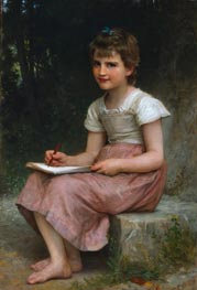 Bouguereau | A Calling (Seated Girl Writing) | Giclée Canvas Print