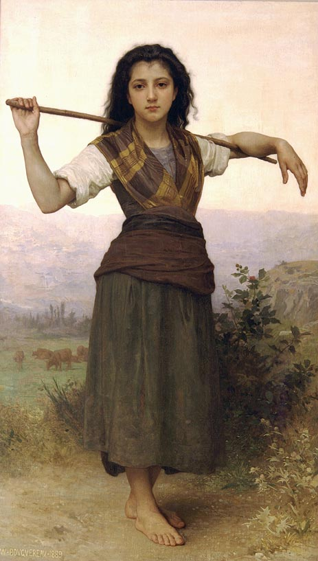 Pastourelle (Shepherdess), 1889 | Bouguereau | Painting Reproduction