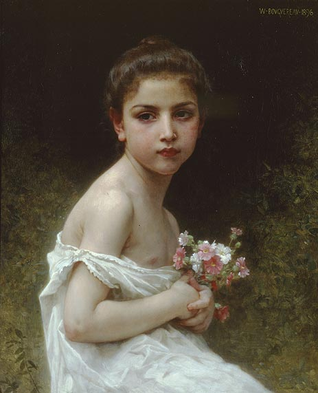 Little Girl with a Bouquet, 1896 | Bouguereau | Painting Reproduction