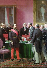Adolphe Yvon | Napoleon III Hands Over The Decree allowing the Annexation of the Suburban Communes of Paris to Baron Georges Haussmann in June 1859, Undated | Giclée Canvas Print