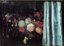 Adrian van der Spelt | Still Life with Flowers and Curtain, 1658 | Giclée Canvas Print