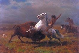 Bierstadt | Indians Hunting Buffalo, c.1888 | Giclée Canvas Print