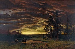 Bierstadt | Evening on the Prairie, c.1870 | Giclée Canvas Print