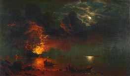 Bierstadt | The Burning Ship, 1869 | Giclée Canvas Print