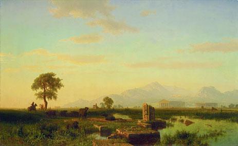 Ruins of Paestum, 1858 | Bierstadt | Painting Reproduction