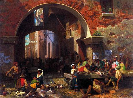 Roman Fish Market, Arch of Octavius, 1858 | Bierstadt | Painting Reproduction