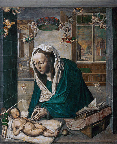 Mary Adoring the Child (Dresden Altarpiece - Central Panel), 1496 | Durer | Painting Reproduction