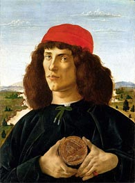 Botticelli | Portrait of a Young Man with a Medallion of Cosimo de' Medici | Giclée Canvas Print