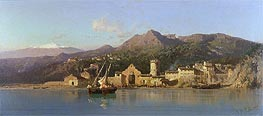 Alessandro la Volpe | View of Taormina, Sicily, Mount Etna in the Background, 1868 | Giclée Canvas Print