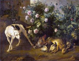 Dog Guarding Game near a Rose Bush, 1724 by Alexandre-François Desportes | Giclée Canvas Print