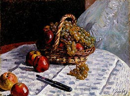 Alfred Sisley | Still Life - Apples and Grapes, 1876 | Giclée Canvas Print