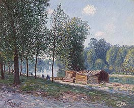Alfred Sisley | Cabins by the River Loing, Morning, 1896 | Giclée Canvas Print