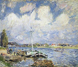 Alfred Sisley | Boats on the Seine, c.1877 | Giclée Canvas Print