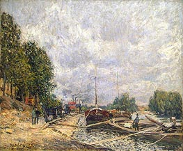 Alfred Sisley | Barges at Billancourt, 1877 | Giclée Canvas Print