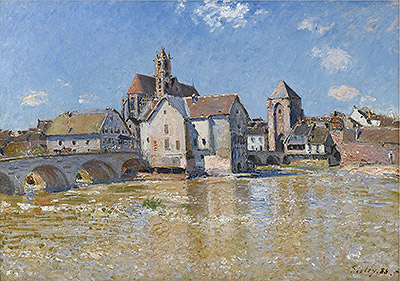 The Bridge at Moret - Morning of April, 1888 | Alfred Sisley | Painting Reproduction