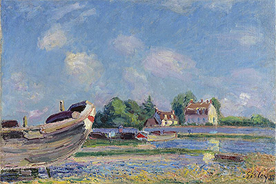 Boat Reparation in Saint-Mammès, 1885 | Alfred Sisley | Painting Reproduction