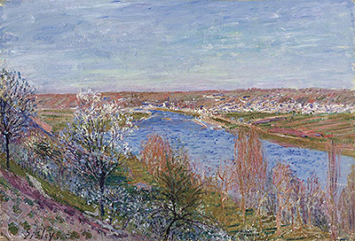 The Village of Champagne at Sunset - April, 1885 | Alfred Sisley | Painting Reproduction
