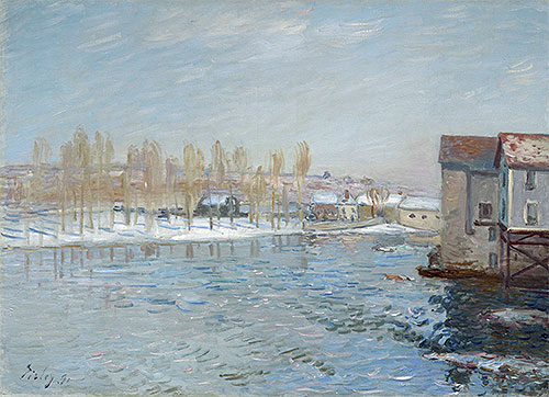 The Loing and the Mills of Moret, Snow Effect, 1891 | Alfred Sisley | Painting Reproduction