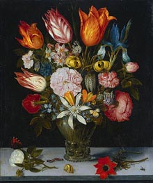 Ambrosius Bosschaert | Flowers in a Glass, 1606 | Giclée Canvas Print