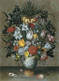 Ambrosius Bosschaert | Chinese Vase with Flowers, Shells and Insects, c.1609 | Giclée Canvas Print