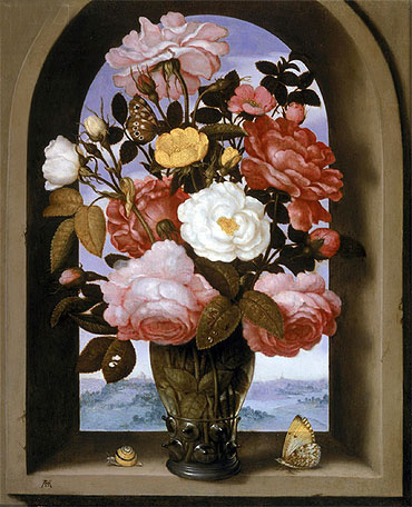 Still Life with Roses in a Berkemeijer Glass, undated | Ambrosius Bosschaert | Painting Reproduction