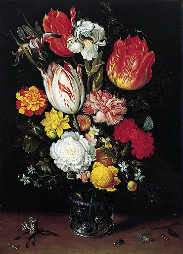 Flowers in a Glass Beaker, undated | Ambrosius Bosschaert | Painting Reproduction