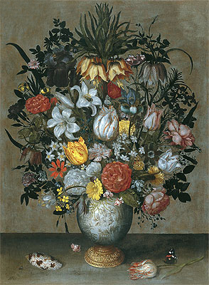 Chinese Vase with Flowers, Shells and Insects, c.1609 | Ambrosius Bosschaert | Painting Reproduction