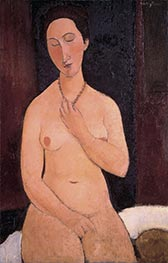Sitting Nude with Necklace, 1917 by Modigliani | Giclée Canvas Print
