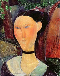 Woman with Velvet Ribbon, 1915 by Modigliani | Giclée Canvas Print