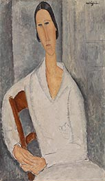 Madame Hanka Zborowska Leaning on a Chair, 1919 by Modigliani | Giclée Canvas Print