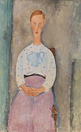 Girl with a Polka-Dot Blouse, 1919 by Modigliani | Giclée Canvas Print