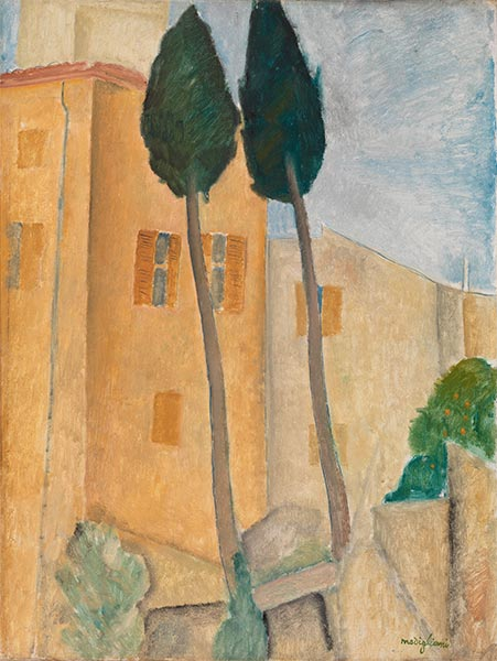 Cypresses and Houses at Cagnes, 1919   Modigliani   Painting Reproduction