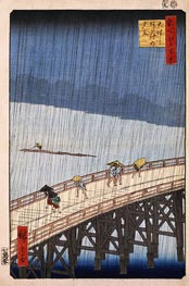 Ando Hiroshige | Sudden Shower over Shin-Ohashi Bridge and Atake, 1857 | Giclée Paper Print