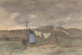A Woman Spreads Laundry on the Dunes, c.1848/88 by Anton Mauve   Giclée Paper Print