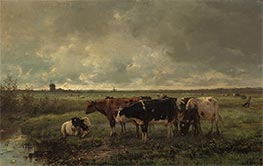 Landscape with Cows and Mill on the Horizon, c.1858/88 by Anton Mauve   Giclée Canvas Print