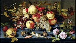 van der Ast | Still Life with Fruit, Flowers and Seafood, 1623 | Giclée Canvas Print