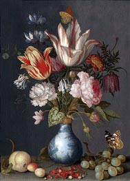 van der Ast | Flowers in a Blue and White Gilt Vase | Giclée Canvas Print