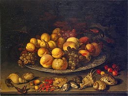van der Ast |  Plate with Fruits and Shells, 1630 | Giclée Canvas Print