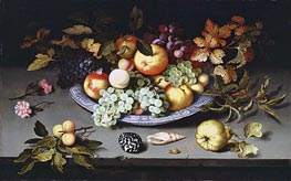 van der Ast | Still Life of Fruit on a Kraak Porcelain Dish, 1617 | Giclée Canvas Print